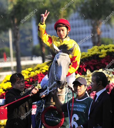 Matthew Chadwick and California Memory after winning The Cathay Pacific Hong Kong Cup