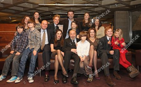 Sir Peter And Lady Hall With Their Family Celebrate The Recent Birthday Of Sir Peter At The National Theatre. Back Row L-r Rebecca Hall Lucy Hall Christopher Hall Freddie Hall Edward Hall Georgia Hall (immidiately Behind Sir Peter) Stephanie Clive And Jennifer Hall. Front Row L-r Silas Edwards Joseph Edwards Emma Hall Sir Peter Hall Tolly Edwards Lady Hall Ben Hall And Eve Edwards. Picture By: Nigel Howard Email.nigelhowardmediaatgmail.com Mobile + 44 (7) 831 235235