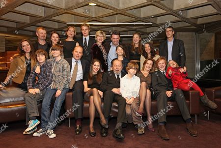 Sir Peter And Lady Hall With Their Family Celebrate The Recent Birthday Of Sir Peter At The National Theatre. Back Row L-r Rebecca Hall Rupert Edwards Lucy Hall Jane Hall Christopher Hall Freddie Hall Issy Van Randwyck Edward Hall Georgia Hall (immidiately Behind Sir Peter) Stephanie Clive And Jennifer Hall And Glenn Wilhidz. Front Row L-r Silas Edwards Joseph Edwards Emma Hall Sir Peter Hall Tolly Edwards Lady Hall Ben Hall And Eve Edwards. Picture By: Nigel Howard Email.nigelhowardmediaatgmail.com Mobile + 44 (7) 831 235235