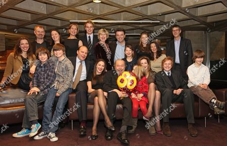 Sir Peter And Lady Hall With Their Family Celebrate The Recent Birthday Of Sir Peter At The National Theatre. Back Row L-r Rebecca Hall Rupert Edwards Lucy Hall Jane Hall Christopher Hall Freddie Hall Issy Van Randwyck Edward Hall Georgia Hall (immidiately Behind Sir Peter) Stephanie Clive And Jennifer Hall And Glenn Wilhidz. Front Row L-r Silas Edwards Joseph Edwards Emma Hall Sir Peter Hall Eve Edwards Lady Hall Ben Hall And Tolly Edwards. Picture By: Nigel Howard Email.nigelhowardmediaatgmail.com Mobile + 44 (7) 831 235235