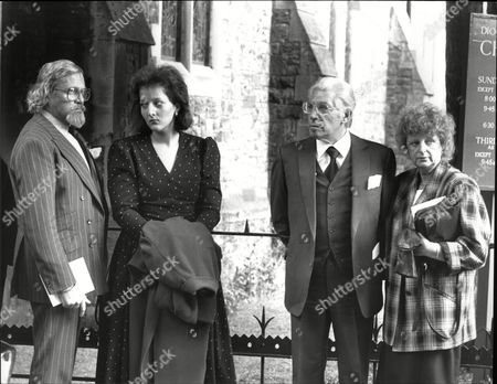 Oliver Reed And Frank Finlay Actors With Oliver's Wife Josephine Burge At Funeral Of Actor Roy Kinnear 1988.