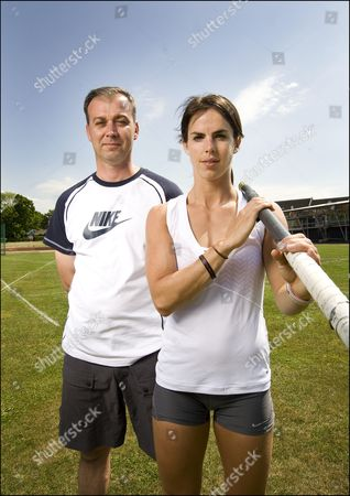 Pole vaulter, Kate Dennison with her coach Steve Rippon