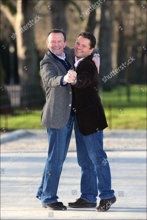 Chris Hollins, winner of the BBC's 'Strictly Come Dancing' TV show, with his Dad, ex-professional footballer John Hollins