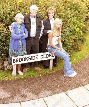 'Brookside' TV programme - (L-R) Jean Heywood as Kitty Hilton, Kenneth Cope as Ray Hilton, Marji Campi as Jessie Hilton and Jennifer Ellison as Emily Shadwick.