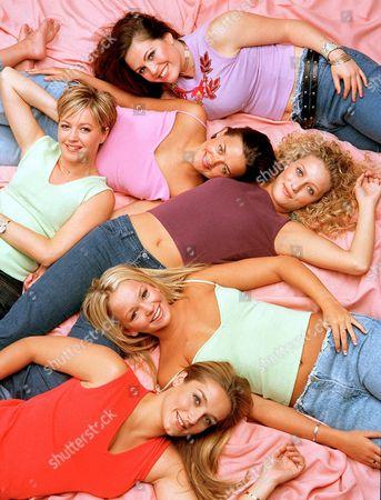 'Brookside' TV Programme - the Brookside Girls (From the Top) - Tiffany Chapman (Rachel Dixon), Diane Burke (Katie Rogers), Jacqui Dixon (Alexandra Fletcher), Suzanne Collins (Nikki Shadwick), Jennifer Ellison (Emily Shadwick) and Ann Marie Davies (Katrina Evans).