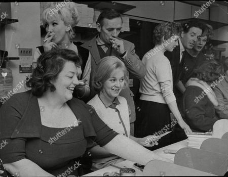 Members Of The Stars Organisation For The Spastics Society At The Headquarters. They Were Helping The Distribution Of The Christmas Seals To Be Sent All Over The Country To Help Raise Funds. Pictured Are Hattie Jacques Joyce Blair Jill Browne Sam Kydd Muriel Pavlow Brian Rix And Hi Hazel