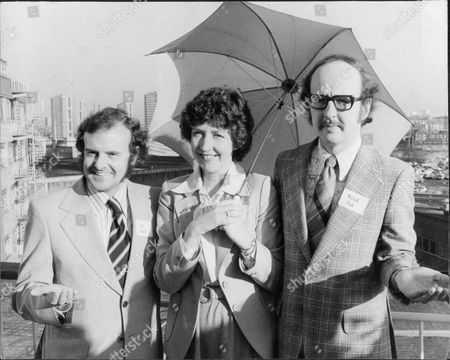 Stock Photo of Bbc Weather Forecasters L-r Bert Foord Barbara Edwards (now Mrs Kenneth Watson) And Michael Fish