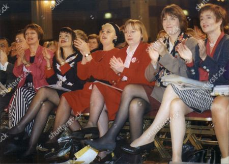 Tessa Jowell Barbara Follet Anni Marjoram Angela Eagle Harriet Harman And Jean Carston Applaud At Labour Party Conference Blackpool 1996.