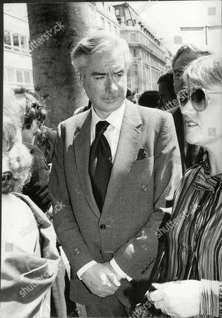 Stock Image of Alistair Burnett Newsreader At Memorial Service For Colleague Reginald Bosanquet 1984.