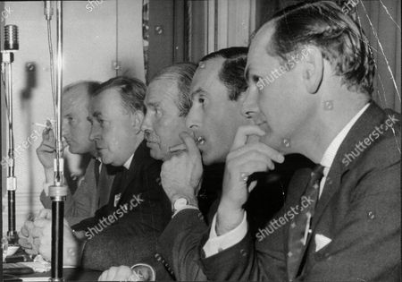 Liberal Party Press Conference; Russell Johnston Reverend A Mckilvoy George Mckay (party Chairman) Jeremy Thorpe (party Leader) And Emlyn Hooson All At North British Hotel Edinburgh 1968.