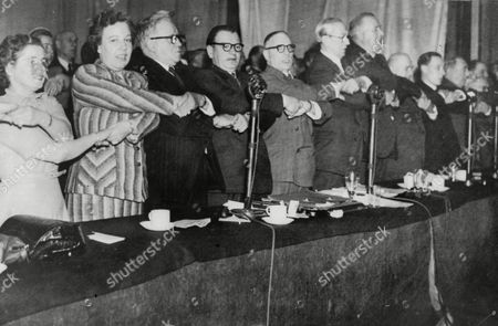 Political Labour Party Conference At Morecombe 1952 Mp's Singing 'auld Lang Syne' At The End Of The Conference Herbert Morrison Alice Bacon Morgan Phillips Margaret Herbison Chairman Harry Earnshaw And Arthur Greenwood (order Nor Known)