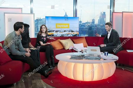 Stock Photo of Mark Wright, Elise Lindsay and Emma Kenny with Dan Lobb