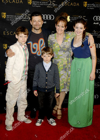 Andy Serkis with wife Lorraine Ashbourne and children Sonny, Louis and Ruby