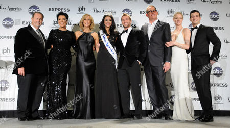 Miss America 2012 Laura Kaeppeler and pageant judges