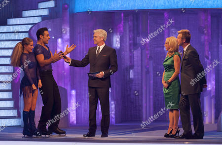 Chico Slimani and Phillipa Towler Green, presenters, Phillip Schofield, Jayne Torvill and Christopher Dean