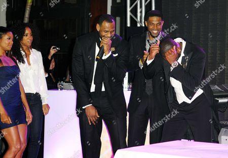 Gabrielle Union, Kelly Rowland, LeBron James, Udonis Haslem and Dwyane Wade