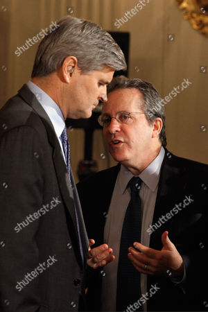 AOL co-founder and former CEO and Chairman Steve Case talks with Director of the National Economic Council Director Gene B Sperling