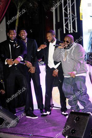 LeBron James, Udonis Haslem, Dwyane Wade and Rick Ross