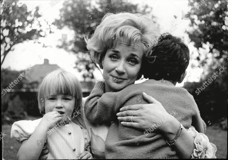 Stock Picture of Sylvia Syms Actress With Her Children Benjie Edney And Beatrice Edney 1965.