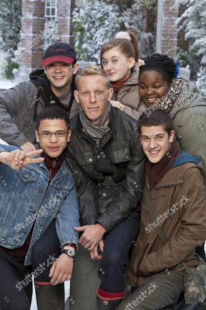 Laurence Fox as Jonathan Donald with Clockwise From Bottom Left: Calvin Demba as Terry, Jack McMullen as Freddie, Faye Daveney as Natasha, Larissa Toussaint-Grant as Kate and Vahid Gold as Mark.