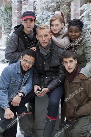 Stock Photo of Laurence Fox as Jonathan Donald with Clockwise From Bottom Left: Calvin Demba as Terry, Jack McMullen as Freddie, Faye Daveney as Natasha, Larissa Toussaint-Grant as Kate and Vahid Gold as Mark.