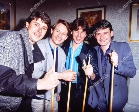 Tony Knowles with Alex Higgins, Kirk Stevens, and Jimmy White