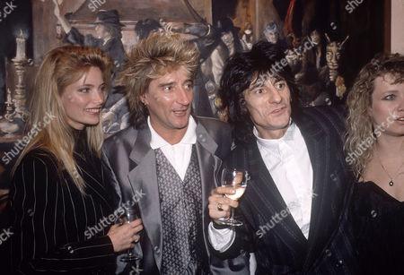 Kelly Emberg, Rod Stewart and Ronnie Wood