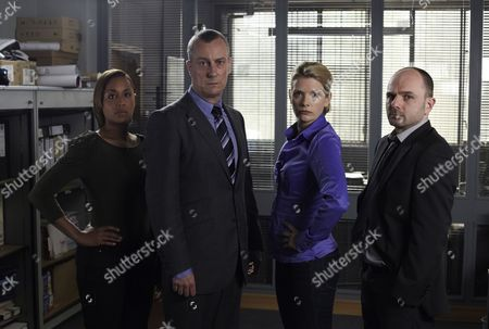 Lorraine Burroughs as Winsome Jackman, Stephen Tompkinson as DCI Alan Banks, Andrea Lowe as DS Annie Cabbot and Jack Deam as Ken Blackstone