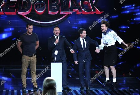 Stock Photo of Nathan Hageman and Angel McKenzie with Ant and Dec [Anthony McPartlin, Decland Donnelly]