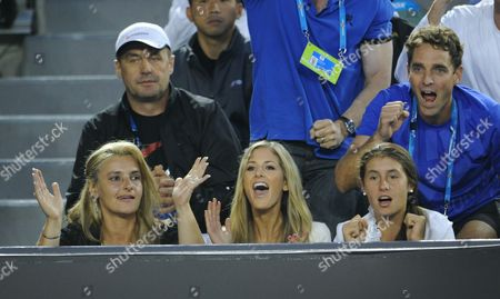 Bernard Tomic's family - father John, mother Ady, sister Sara and blonde girlfriend Donay Meijer all watched as thousands cheered form the stands and millions at home watched as Australians cheered him on.