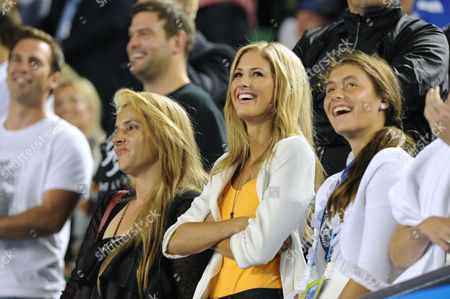 Stock Photo of Bernard Tomic's mother, girlfriend Donay Meijer (c) and sister