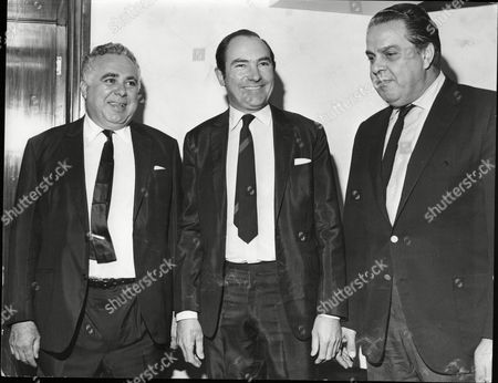 Harry Saltzman And Albert Broccoli Producers Of James Bond Films With Director Peter Hunt (centre) Preparing For On Her Majesty's Secret Service 1967
