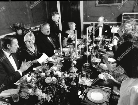 Dinner Time At Camphill House Near Rippon With Owner Bruce Ropner (head Of The Table) And Wife Willow (second Left Blonde) With Diana Hutchinson And Her Husband Peter Parry