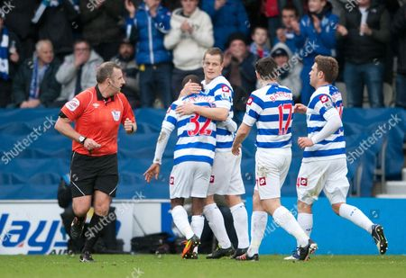 Heidar Helguson of QPR celebrate his opening goal