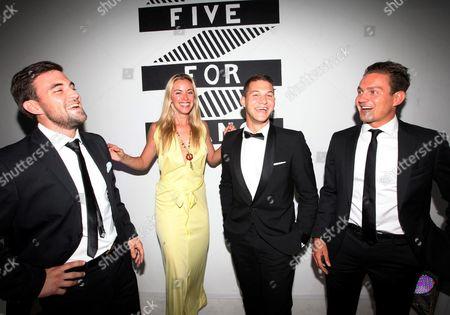 Kristanna Loken with Ross Mckernan, David Deetlefs and Adriaan Dippenaar at a Martin Glover development event