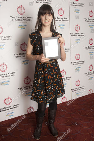 Blanche McIntyre with the Jack Tinker Award for Most Promising Newcomer, for Accolade & Foxfinder, in the press room.