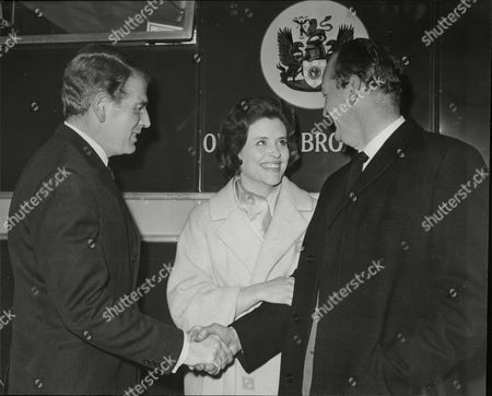 Stock Photo of Daily Mail Ideal Home Exhibition At Olympia 1965 L-r Actor Lawrence James Actress Frances Bennett And Husband To Be John Mcmichael
