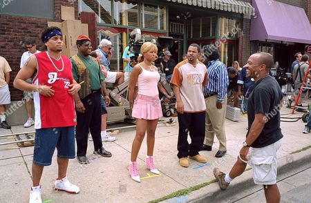 Barbershop 2: Back In Business (On Set),  Michael Ealy,  Leonard Earl Howze,  Eve,  Ice Cube,  Cedric The Entertainer