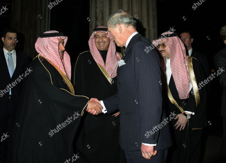 Stock Picture of Prince Charles greeting (left to right) His Excellency Faisal Bin Muammar, Prince Abdul-Aziz bin Abdullah and Saudi Arabia Ambassador to London Prince Mohammed bin Nawaf