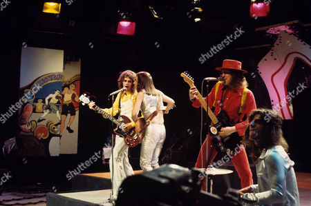 Slade - Jim Lea, Dave Hill, Noddy Holder and Don Powell 'Top of The Pops' TV Show - AUG 1972