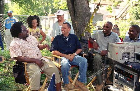 Barbershop 2: Back In Business (On Set),  Cedric The Entertainer,  Marcia Wright,  Jason Young,  Bob Teitel (Pro) George Tillman Jr (Pro) Shakim Compere