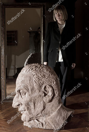Jane McAdam Freud with her large sculpture of her father artist Lucian Freud.