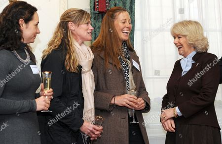 Camilla Duchess of Cornwall meets (left to right) Allison Brock, Sinead Halpin and Rebecca Howard