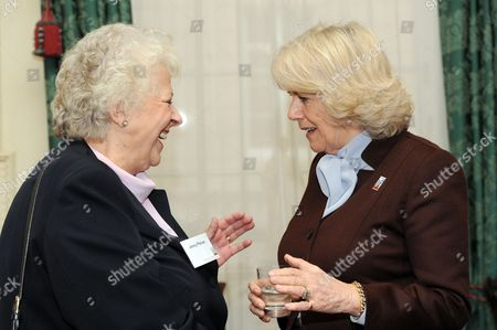 Camilla Duchess of Cornwall (right) meets former racehorse trainer Jenny Pitman