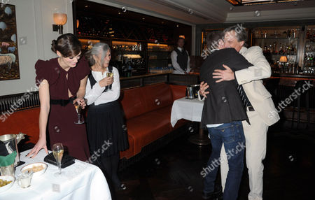 Michael Fassbender and Viggo Mortensen dancing watched by Keira Knightley and Sharman MacDonald