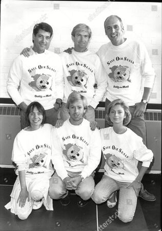 Tony Anholt With Michael Loney And Stephen Yardley Front Row Cindy Shelley Edward Highmore And Sarah Jane Varley Modeling Daily Mail Save Our Seals Campaign Sweatshirts