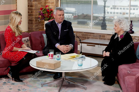 Presenters Holly Willoughby and Eamonn Holmes with Jean Boht