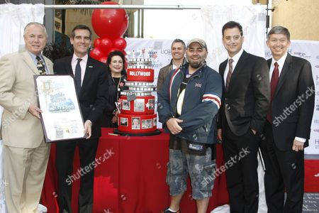 Tom LaBonge, Eric Garcetti, Duff Goldman, Jimmy Kimmel and Leron Gubler