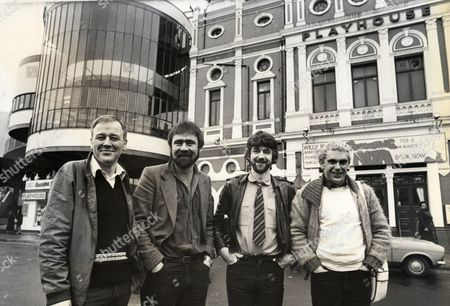 Playwrights L To R Bill Morrison Alan Bleasdale Willy Russell And Chris Bond Outside The Liverpool Playhouse Theatre
