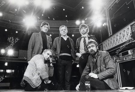 Playwrights Bill Morrison (back Row Centre) Willy Russell (back Row Right) Chris Bond (seated Left) And Alan Bleasdale (seated Right) Inside The Liverpool Playhouse Theatre. Back Row Left Is Chris Bullock The Theatre Admin Director.